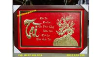 Tranh chữ Tài thư pháp bằng đồng kích thước 65 x 100 cm -