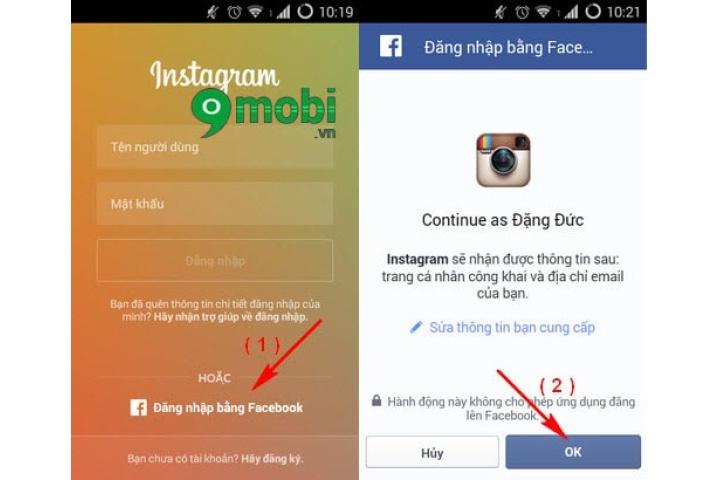 Cách đăng nhập Instagram bằng Facebook trên điện thoại Android, iPhone