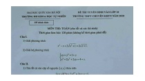 Đề thi môn Toán vào lớp 10 trường THPT Chuyên ĐH Khoa học Tự nhiên ...