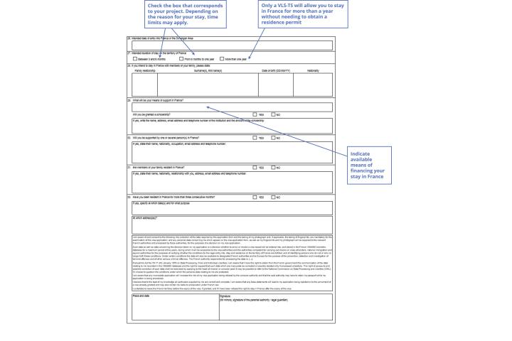 Long Stay Student Visa Application Form France