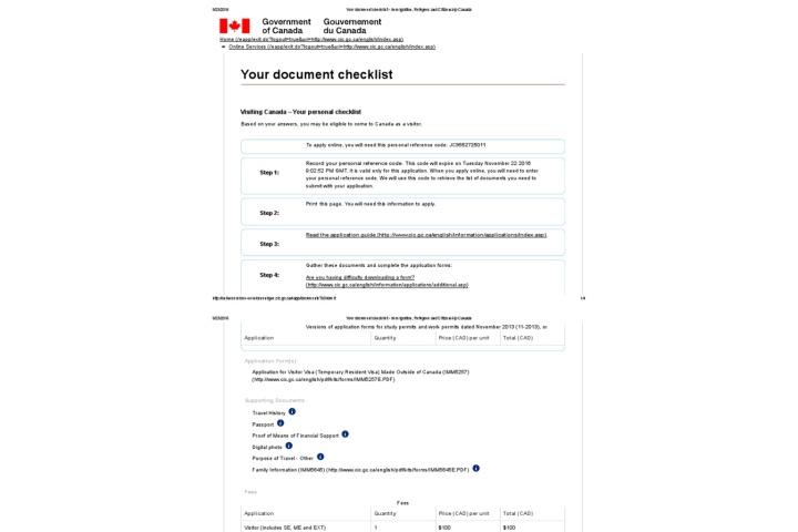tourist visa canada documents checklist