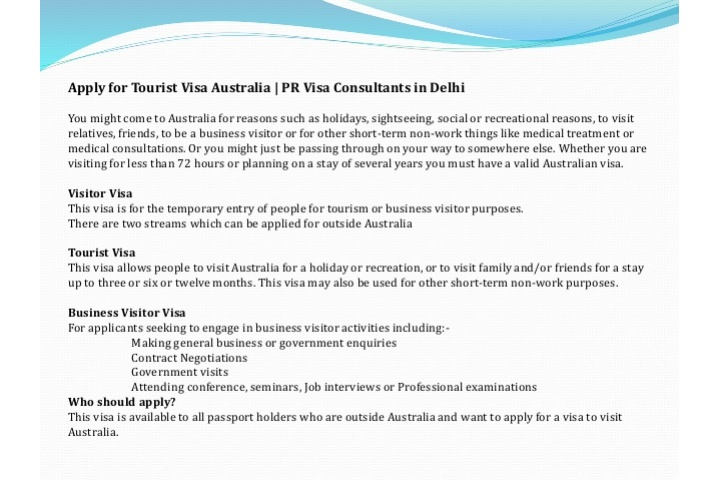 Australia Tourist Visa Requirements