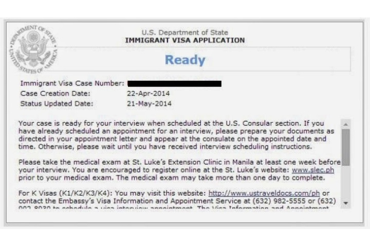 immigrant visa status ready after interview
