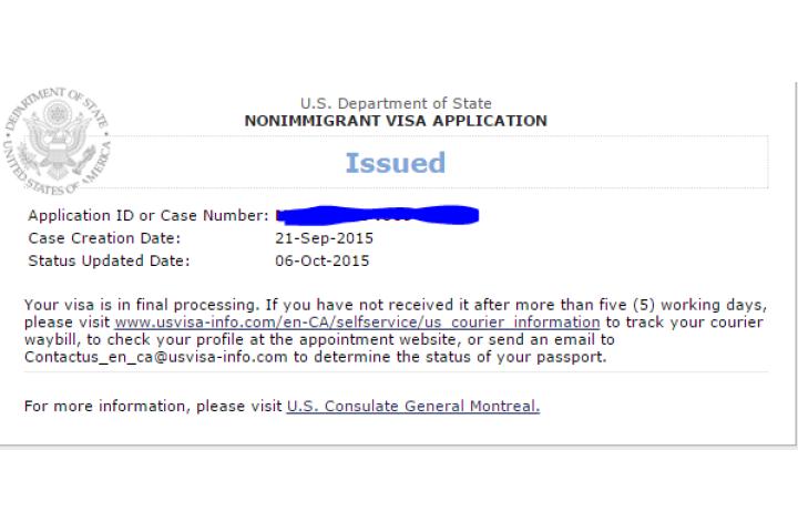 nonimmigrant visa application status issued