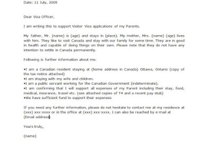 Canada Visitor Visa Invitation Letter Format