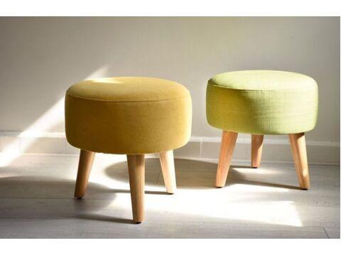 Ghế đôn sofa tròn chân gỗ phòng khách VN-Ds001
