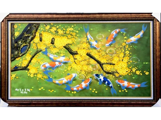 Tranh sơn dầu hoa mai cá chép