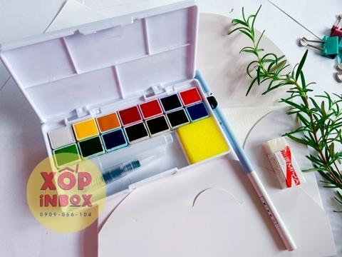 Màu Nước  Himi Dạng Nén 14 Màu (Tặng kèm sổ, tẩy ,bút chì, cọ nước )