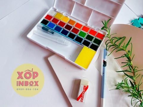 Màu Nước  Himi Dạng Nén 24 Màu (Tặng kèm sổ, tẩy ,bút chì, cọ nước )