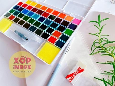 Màu Nước  Himi Dạng Nén 50 Màu (Tặng kèm sổ, tẩy ,bút chì, cọ nước )