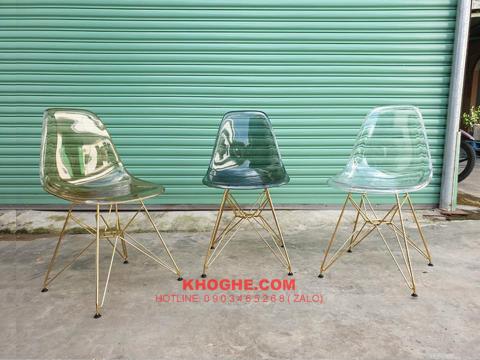 Ghế nhựa trong suốt chân xi vàng DP-A0004