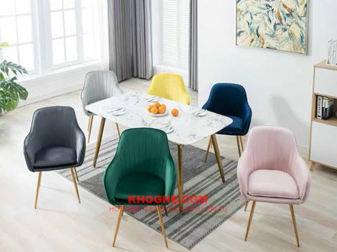 Tổng hợp những mẫu ghế ăn nệm bọc vải nhung đẹp tại kho