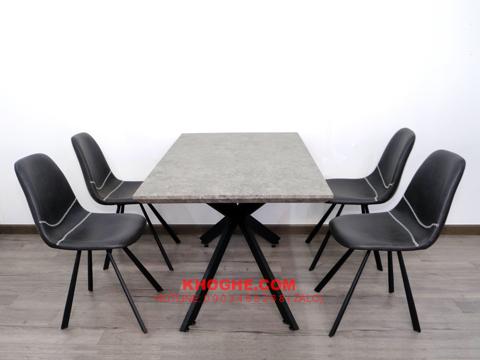 Bộ bàn ăn 4 ghế nệm da hiện đại TRTH-8014
