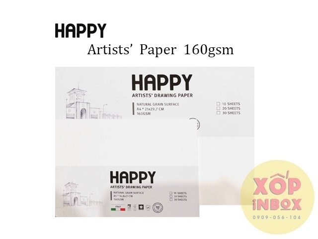 Giấy vẽ canson Happy Ý 160gsm A5