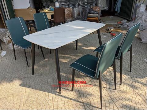 Bộ bàn ăn mặt đá 4 ghế nhỏ gọn MD-B90