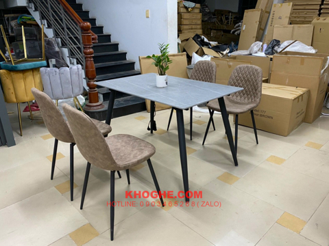 Bộ bàn ăn mặt đá 4 ghế nhỏ gọn MD-B90-MD-S171
